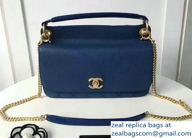 Chanel Grained Calfskin Small Flap Bag With Top Handle A93756 Navy Blue 2017