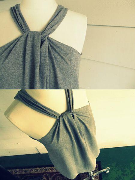 diy no sew remodel t shirt halter