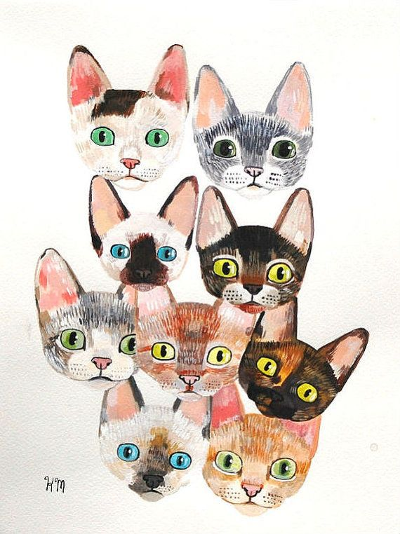 {devon rex kitty faces!} by QueenOfTheCats - one of my favourite artists!: Cats, Paintings Art, Cat Art, Kitty Cat, Cat Illustrations, Graphics Design Posters, Devon Rex Cat, Devonrex, Baby Cat