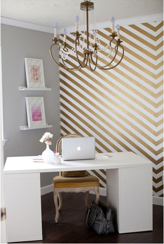 Gold and white striped accent wall