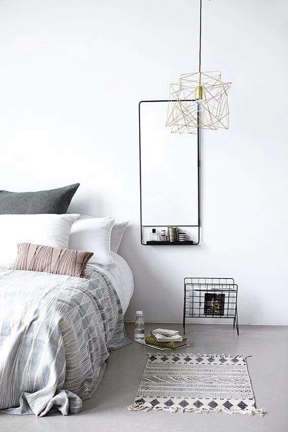 Grey and white, minimal chic bedroom idea