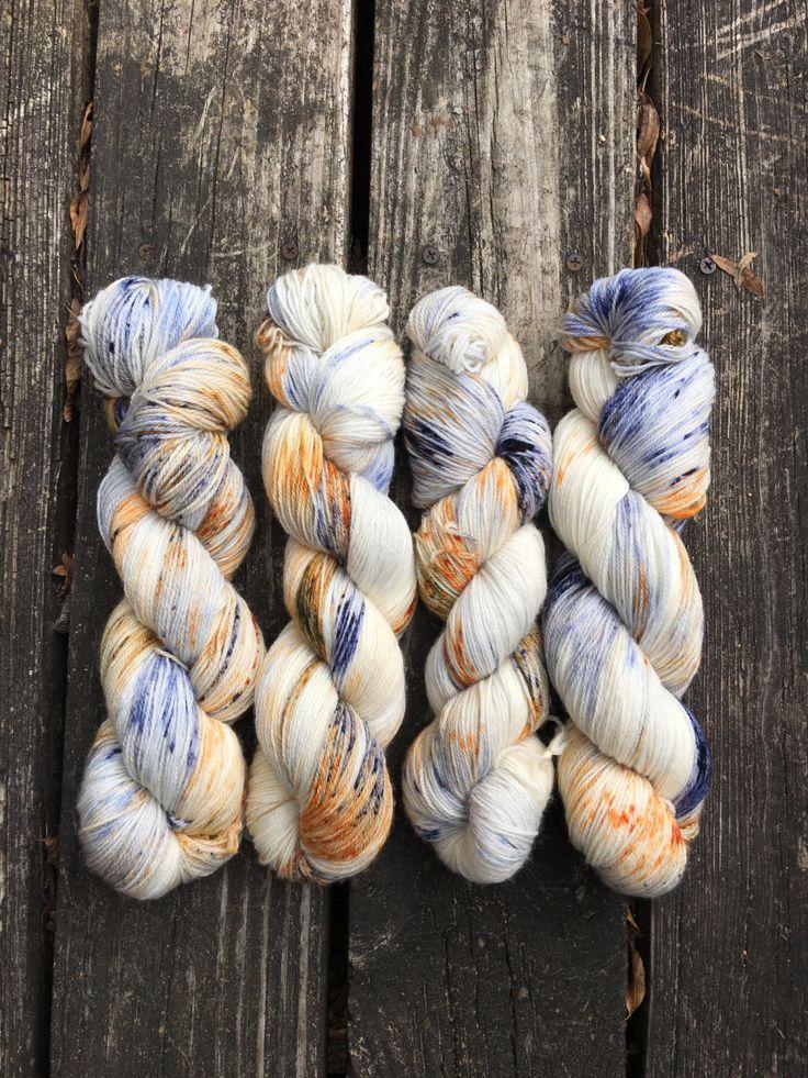 Favorite flannel from my Etsy shop https://www.etsy.com/listing/490101989/hand-dyed-speckled-sock-yarn-favorite Navy yarn, orange yarn, fall yarn.