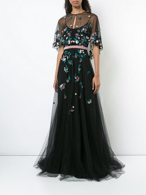eb4c34befa0 MARCHESA NOTTE floral-embroidered cape gown