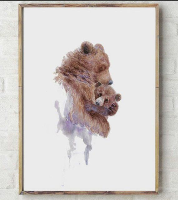 BEAR ANIMAL ART PRINT POSTER Human Body Head Portrait Funny Quirky Personality