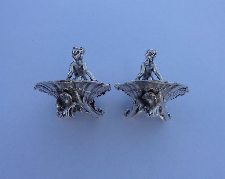 A Couple of Extraordinary French Art Nouveau Small Solid Silver Mermaid Sculptures Waves Shells Miniature Bowls !