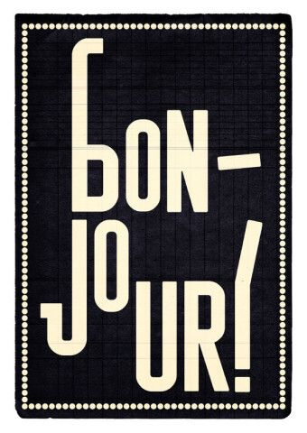 Bonjour black. Extra Large print 16.50 x 23.4 (A2). Poster.