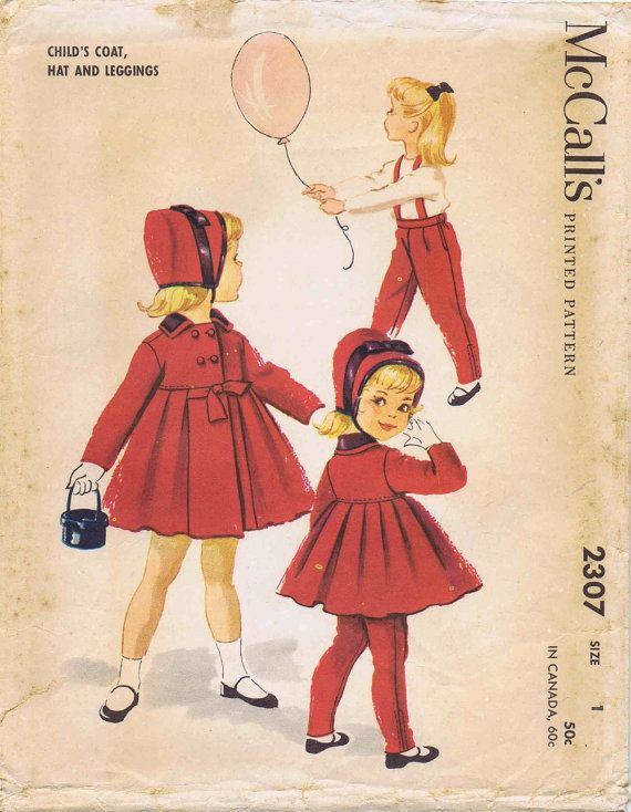1950s Girls Coat Hat Leggings Helen Lee Vintage by patternshop