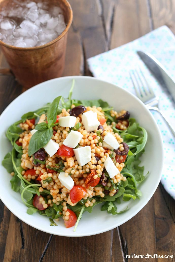 Mozzarella, Tomato, and Basil Couscous Salad with Arugula for...