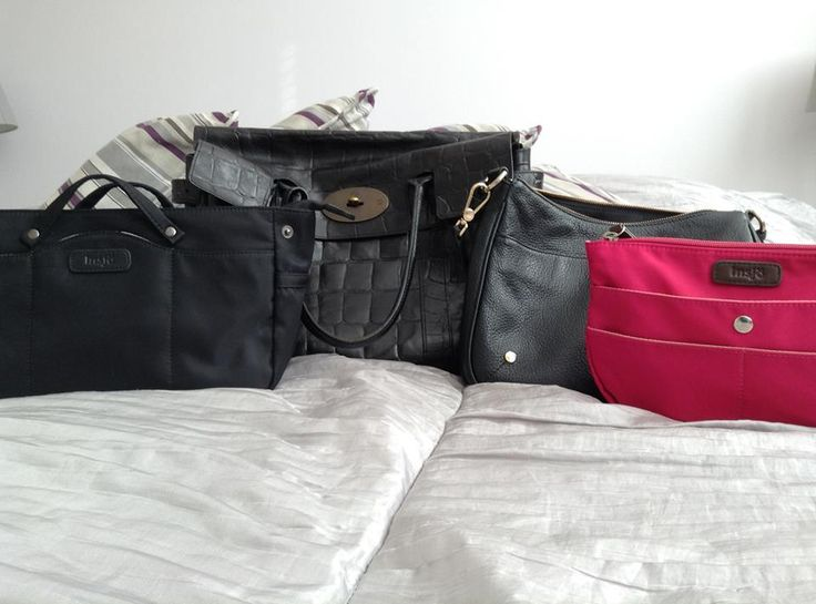 """Hanna-Riikka Myllymäki - """"I just love my Insjö-bibs! So handy when changing from handbag to another. But especially since they make the shaggy bags look so much better. Here Inari and Saimaa in Mulberry Bayswater and Furla crossbody."""""""