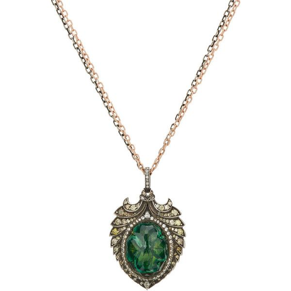 Sevan Biçakçi Women's Clover Intaglio Pendant Necklace ($17,500) ❤ liked on Polyvore featuring jewelry, necklaces, green, engraved pendants, oval pendant necklace, clover necklace, chain pendant necklace and carved pendant