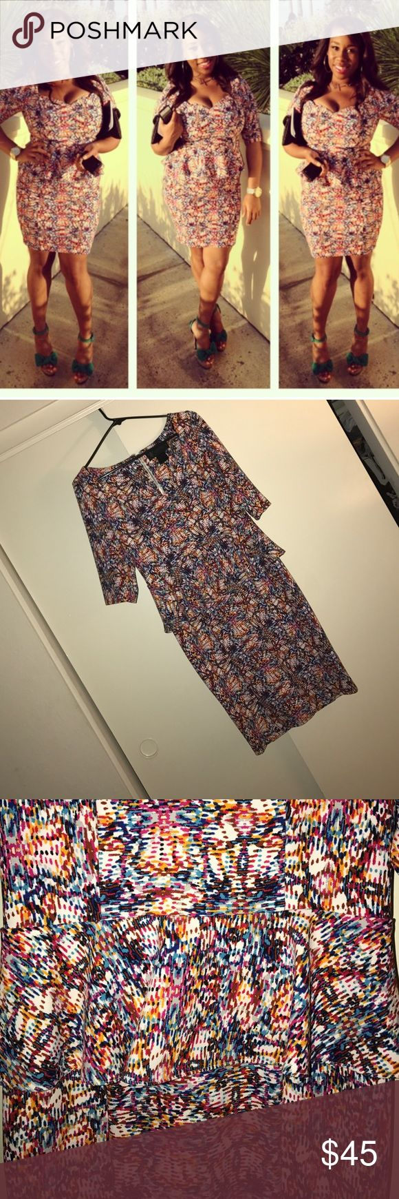 Peplum Midi Dress Wow! Kardashian Showstopper midi dress with peplum waist. Accentuates curves. 3/4 sleeve. Kardashian Kollection Dresses Midi
