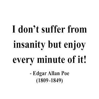 I don't suffer from insanity but enjoy every minute of it! ~Edgar Allen Poe