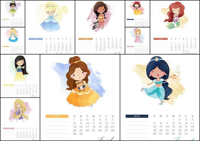 Calendario 2019 Disney Para Imprimir.Disney Princess 2018 Free Printable Calender Disney