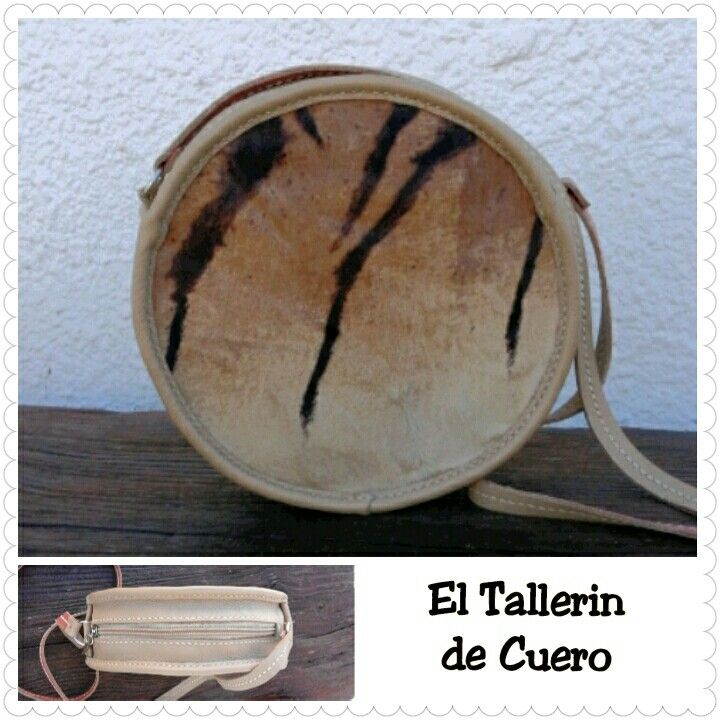 Bolso redondo que combina piel de pelo con piel lisa. 100% hecho a mano.