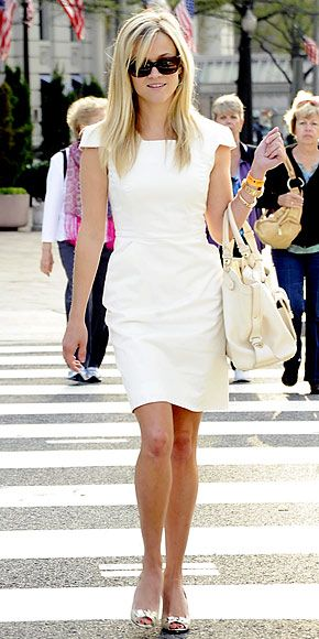 White dress. Reese in DC. Maybe on set?  See the Willard Hotel in the background.: Reesewitherspoon, Reese Witherspoon, Fashion, Dresses, Outfit, Cap Sleeve, White Dress, Styles, Classic Style