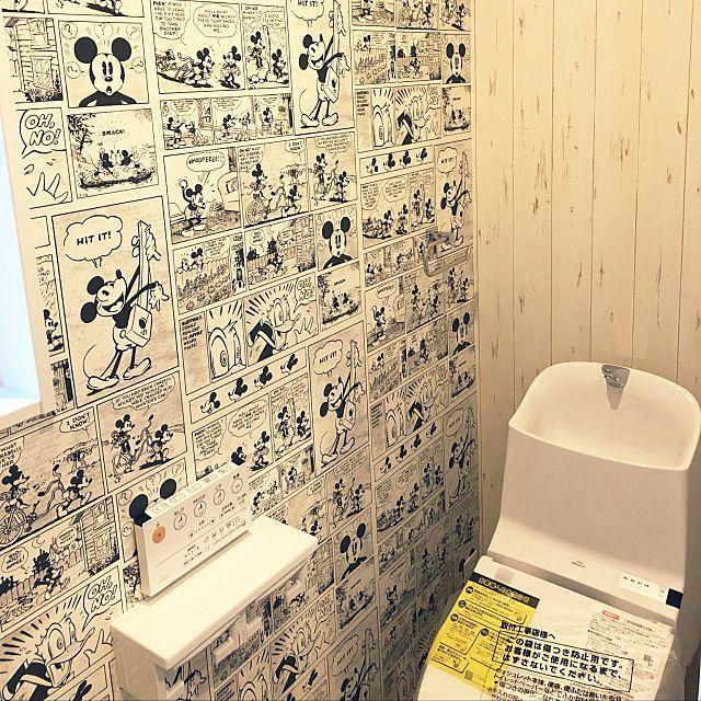 バス トイレ Disney壁紙 ミッキー壁紙 Totoトイレ 西海岸スタイル