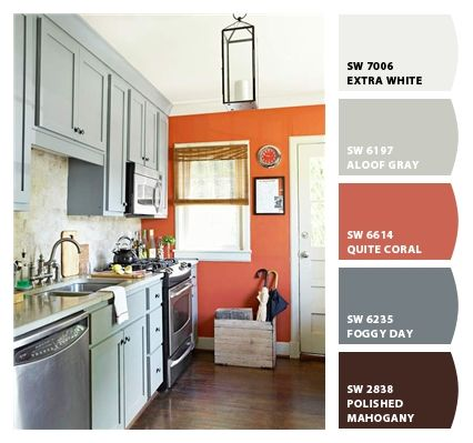 How To Combine Gray U0026 Orange Accent Wall :). Kitchen ColorsKitchen IdeasSmall  Kitchen Decorating ... Amazing Ideas