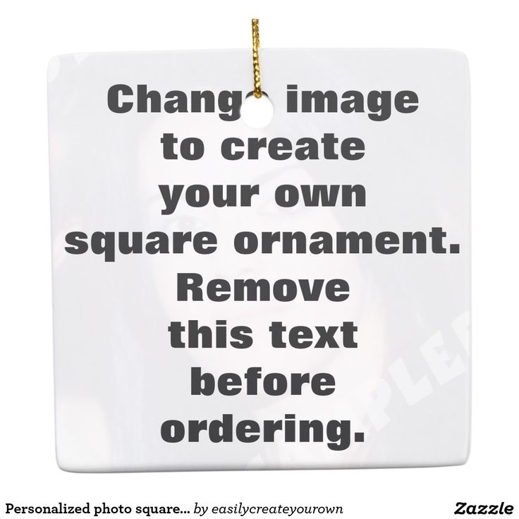 Personalized photo square #Christmas #ornament. Make your own! Square Ornament