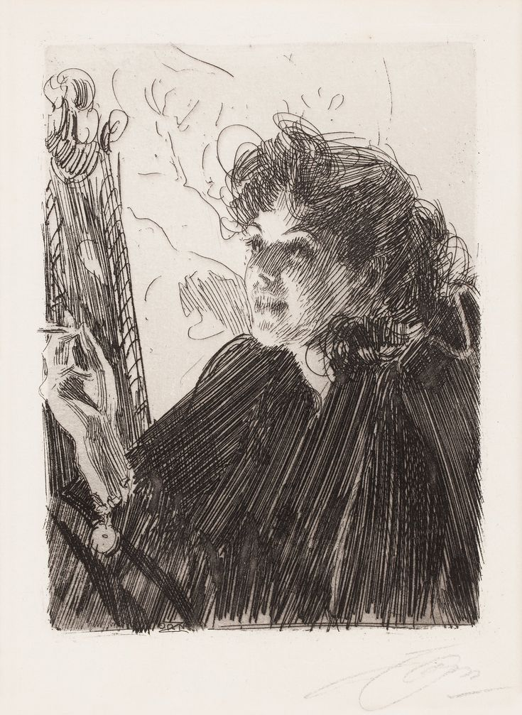 """""""Girl with a Cigarette II"""", etching // Anders Zorn (1860-1920)"""