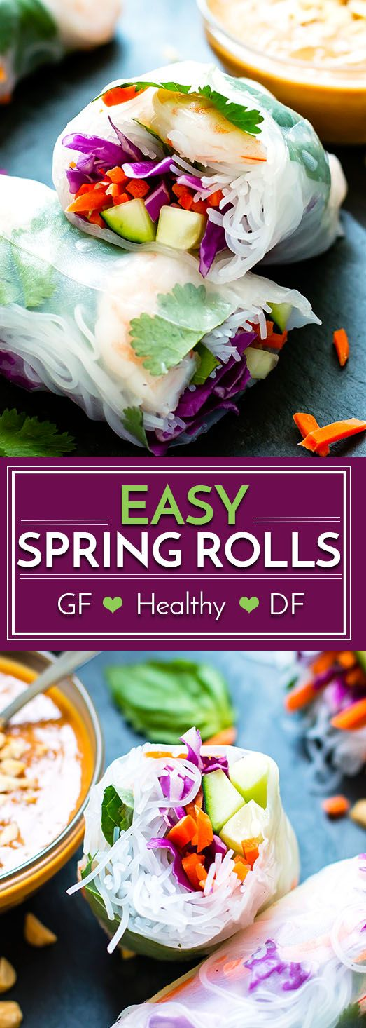 Vietnamese Fresh Spring Rolls are full of basil, cilantro, shrimp and veggies and then paired with a slightly spicy peanut sauce. They make a great gluten-free and low-calorie appetizer or main dish for your next party or get-together!