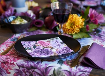 """Dahlias"" Autumn design as napkin and table covers."