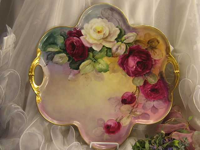 """""""Absolutely Breathtaking Masterpiece"""" Antique Limoges French Rare LARGE SERVING HANDLED TRAY Art Nouveau Hand Painted Superb Burgundy & Whit..."""