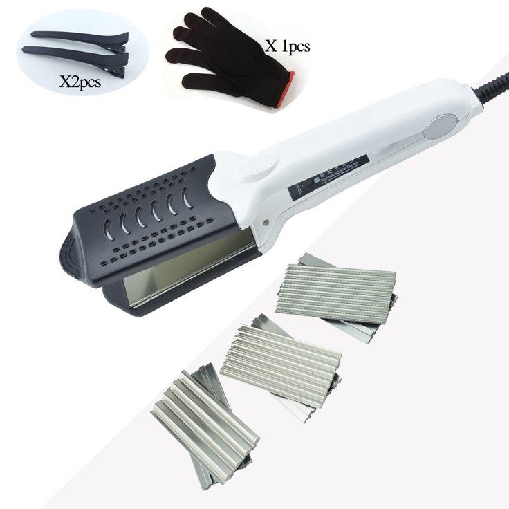 ホット販売多機能セラミックダブル電圧ストレートヘアーアイロンカーリング髪カーラー段ボールアイアンで4プレート付きグローブ