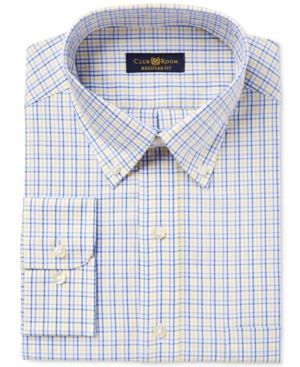 Club Room Men's Classic/Regular Fit Estate Wrinkle Resistant Yellow Blue Triple Check Dress Shirt, Only at Macy's - 1