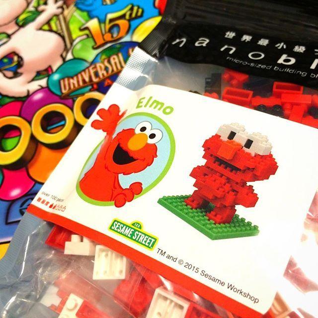 ユニバのキャラクターが勢揃いしてるの見たら可愛くて買ってしまった…。行くたびに1個ずつ増やしてこー\⍩⃝/笑 #USJ #自分にお土産 #LEGO #nanoblock #sesamestreet #elmo