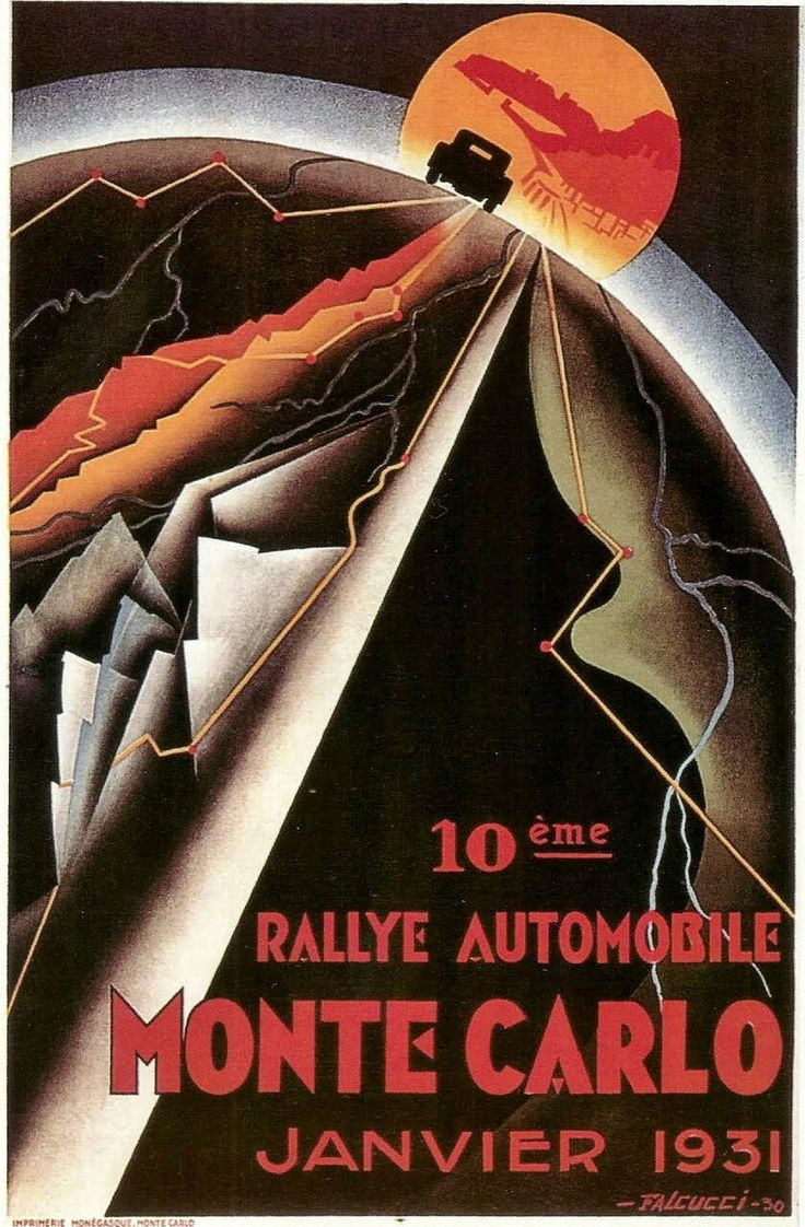 1931 Monte Carlo Rally ~ Artist Robert Falcucci's art nouveau poster for the 1931 Monte Carlo Rally beautifully captured the global nature of the lengendary automobile competition. The race format had competitors starting all over Europe, and converging in Monte Carlo. Donald Healey piloted his Invicta from Stavanger, Norway to win the event, with M. Wimille taking P2 in his Lorraine, and M. L. Schell taking P3 in his Bugatti.