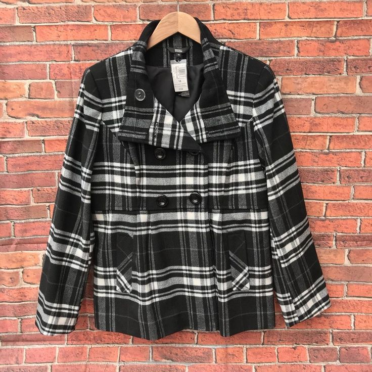 M&S Coat New with Tags Black White Grey RRP £59.00 marks & spencer winter  uk14
