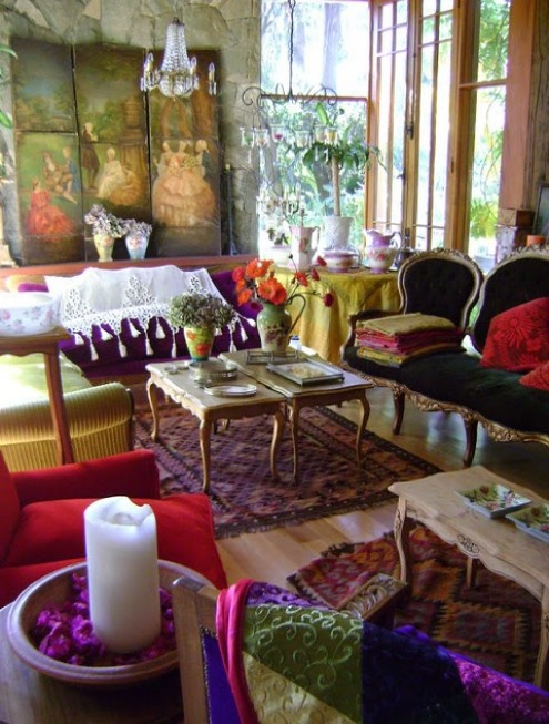 "I love the ""bohemian"" look so much, I think, because it all looks well-loved and lived-in. It's not a showroom, display only... people live and love and play amongst the colors. And here, I love the non-magenta walls to keep it looking bright and fresh. So lovely :)"