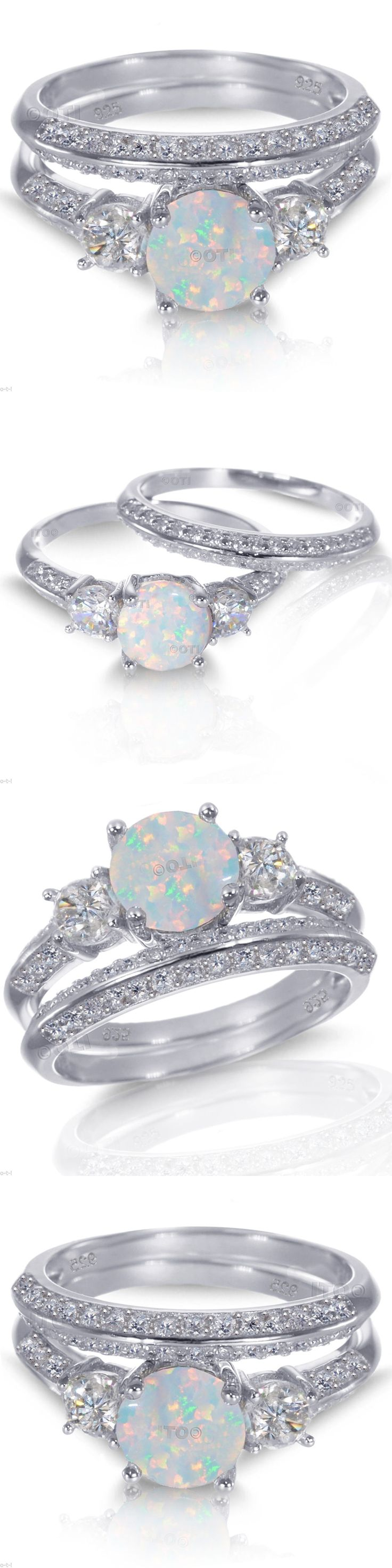 Rings 67681: White Gold Sterling Silver Round Cut White Fire Opal Wedding Engagement Ring Set BUY IT NOW ONLY: $62.95