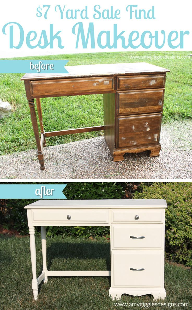 7 Dollar Yard Sale Find Desk Makeover Www.amygigglesdesigns.com
