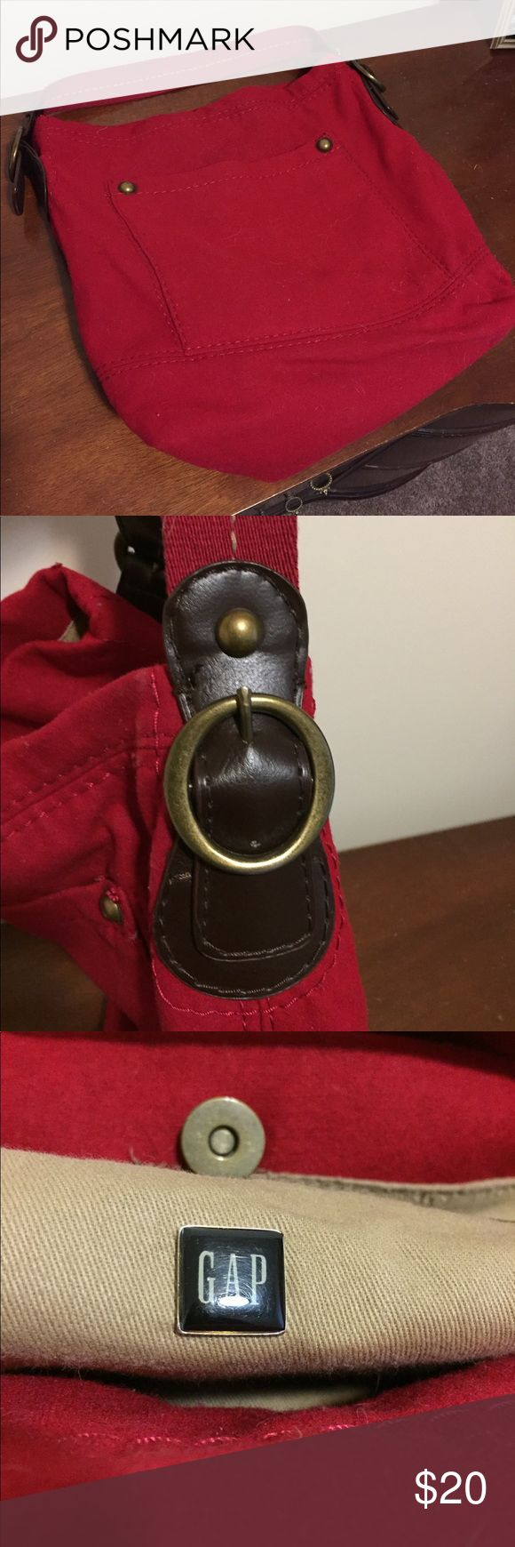 Gap Red Felt Bag Perfect for school or work! Brass buckle on brown leather is really in style right now, it's so cute! GAP Bags Shoulder Bags
