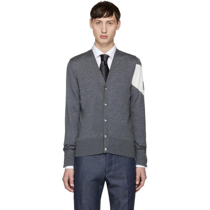 Moncler Gamme Bleu - Grey Chevron Sleeve Cardigan