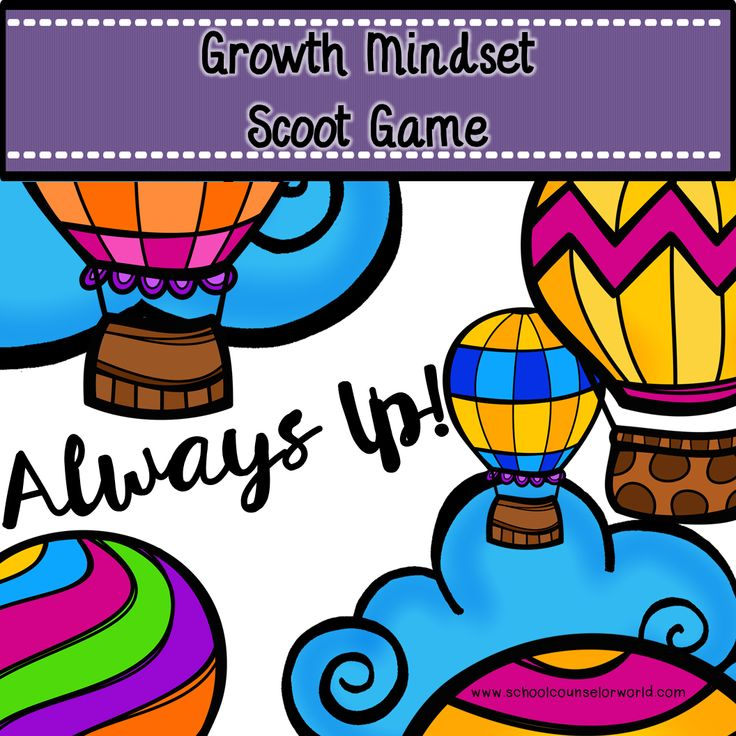 Scoot game on growth mindset. Teach kids how to have a positive attitude to overcome obstacles, increase their mindset, think out of the box, and grow their brain! We've got more GUIDANCE LESSON Plans, all which are aligned for grades #K-6! Each lesson plan has a Word doc for each grade level and a PDF that includes all interactive activities and printables. #Growth #Mindset | #Positive #Thinking | Decision Making | #Elementary Guidance Lessons | #ASCA