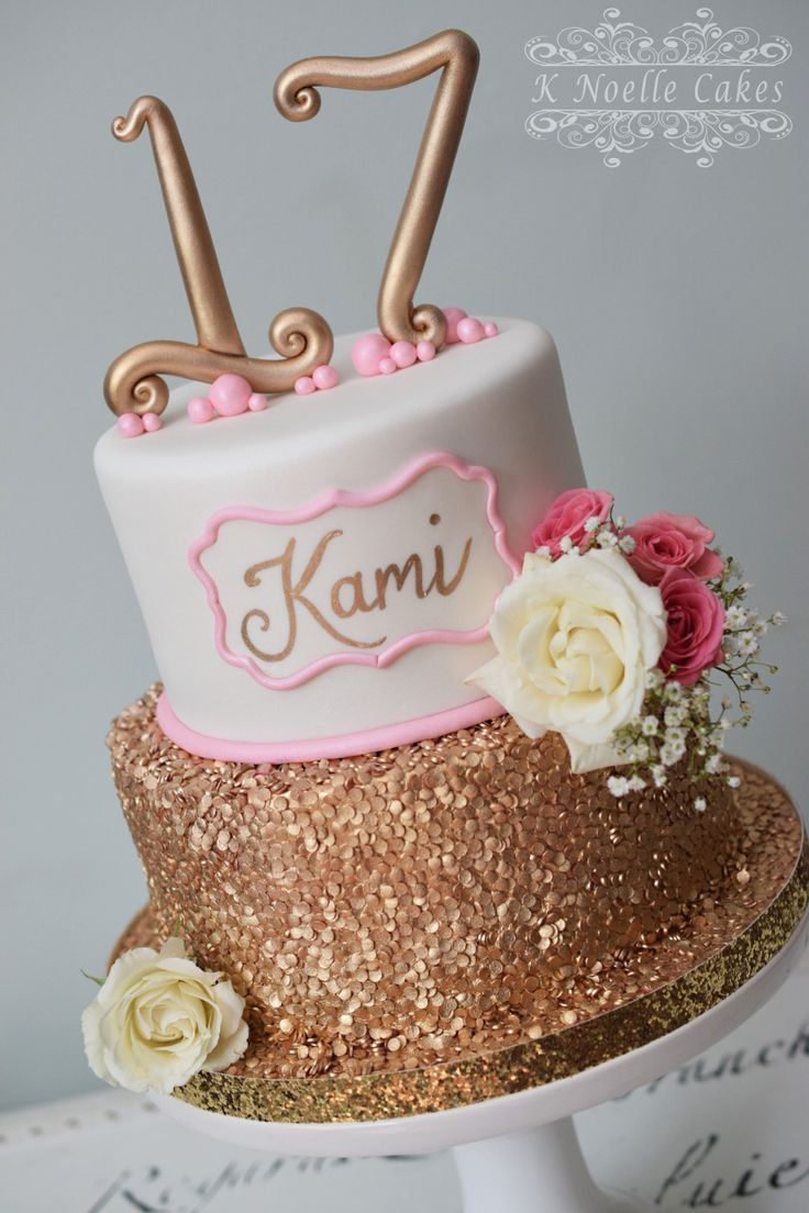 Gold And Pink Birthday Cake By K Noelle Cakes