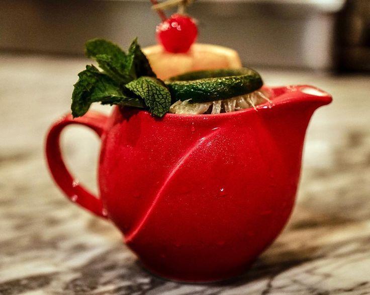 Tiki cocktail Better Than Long Island Iced Tea 25 is made with Parce Rum Yaguara Cachaca whiskey Overproof Rum lime cordial fresh lime juice pineapple juice pomegranate syrup. . . . . . #rum #parcerum #yaguaracachaça #whiskey #overproofrum #tikicocktails #tikibar #gastropub #koreatownNYC #osamil #osamilnyc