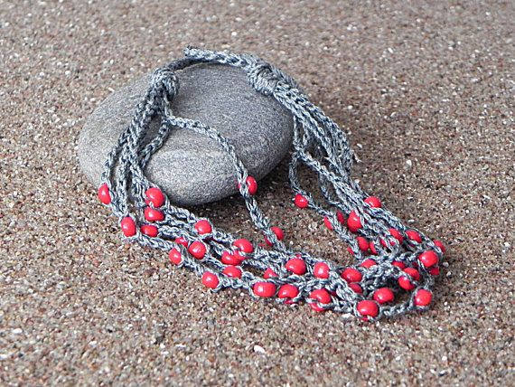 Crochet Necklace Grey Red Necklace Boho Necklace Crochet Beaded Necklace Rustic Jewelry Multi Strand Necklace Glass Beads Crochet Cotton Crochet beaded necklace suitable for special occasions and everyday use as well. Unique necklace is good option as a gift for your family and