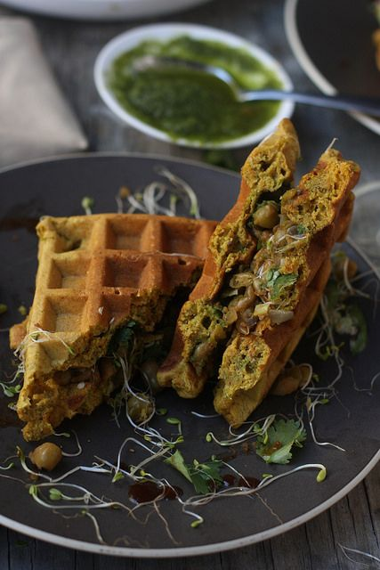 Whole Grain Savory Waffles with Chickpea flour, millet flour, cornmeal and black lentil flour. HEALTHY and Great.