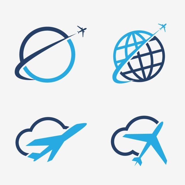 Travel Logos Set Design Airplane In Globe And Cloud Tourism Vector Icons Travel Logo Travel Icon Logo Set