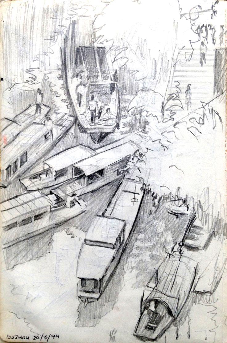 Flood in Wuzhou - ink drawing - ©Gary Drostle