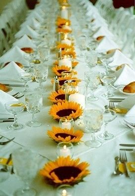 Sunflower Tablescape Ideas. Pinned by Afloral.com from http://www.rehearsaldinnerguide.com/blog/?p=2572 ~Afloral.com has high-quality faux sunflowers for your DIY floral table runner.