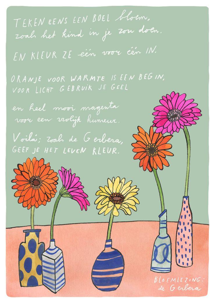 Bloemlezing: de Gerbera. Dichter: Kim Triesscheijn. Illustratie: Bodil Jane. #bloemlezing #bloemen #gerbera #ode #flowers #poetry www.mooiwatbloemendoen.nl/bloemlezing-de-gerbera