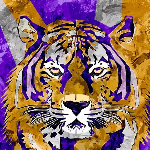 The Beautiful Purple And Old Gold Tiger Canvas Wall Art By Sam Maxwell 3 Premium Canvas Sizes To Choose From Lsu Tigers Art Football Wallpaper Tiger Football