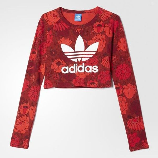 adidas Crop Tee (605 ARS) ❤ liked on Polyvore featuring tops, t-shirts, crop tee, long sleeve t shirts, adidas trefoil tee, red tee and floral crop top