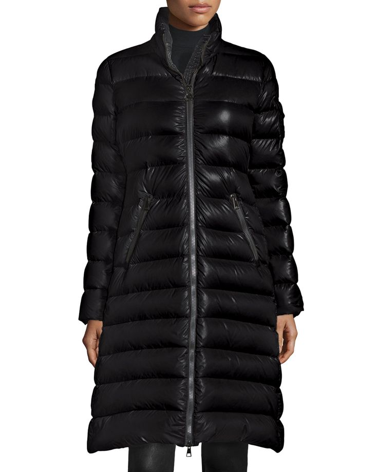 Moka Long Shiny Quilted Down Coat, Black - Moncler