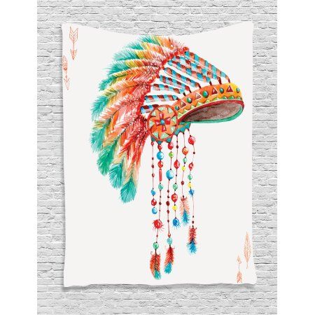 Native Wall Hanging Tapestry, Watercolor Tribal Indian Chief Headdress with Feathers and Beads Arrow Figures Print, Bedroom Living Room Dorm Decor, Orange Blue, by Ambesonne