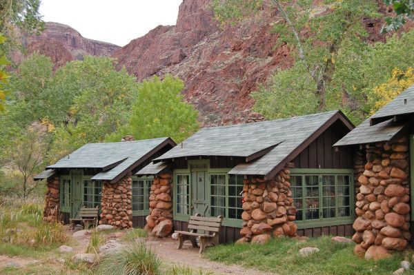 Located 4,600 feet below than the South Rim of the Grand Canyon is a community of eleven tiny houses designed by architect Mary E. J. Colter back in 1922. This is Phantom Ranch - the only lodging facility below the rim of the Grand Canyon. You can't drive there. The only access is by mule train, foot, or rafting down the Colorado River